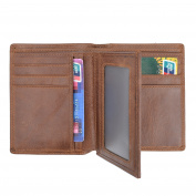 VRLEGEND Genuine Credit Card Wallet Leather Men Billfold Trifold 16 Cards Slots