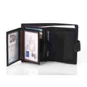 VRLEGEND Genuine Leather Wallet Men Luxury Credit Card Holder 2 ID Window & 10 Card Slots