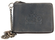 Grey Zip-around Genuine Leather Wallet Born to Ride with a Motorbike with Chain and Carabinee