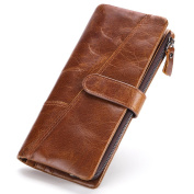 Gendi Long Bifold Multi-Card Wallet, Men's Large Capacity Luxury Soft Leather Wallet