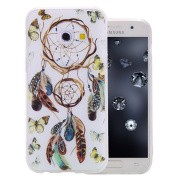Galaxy A320F Silicone Case, Aeeque® Slim-fit Soft Gel Rubber Flexible Back Bumper [Anti-Scratch] Full Body Protection Cover for Samsung Galaxy A3 2017 12cm with Retro Butterfly Campanula Pattern