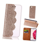 Bling Case for iPhone 6/iPhone 6S 12cm ,Sunroyal Bling Glitter Flowers Sparkling Powder Flip Wallet Magnetic Closure Soft Smart Premium PU Leather Cover [ID & Credit Card Slot]Money Slot for Boy-Gold