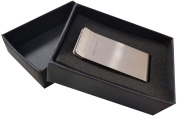 SAMSONITE LUXURY SILVER STAINLESS STEEL MONEY BILLS CARDS licence CLIP BRUSHED METAL WITH POLISHED EDGES 5CM x 2,5CM