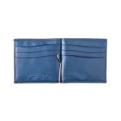 Money clip wallet slim for men in real leather with card and coin holder DV Blue