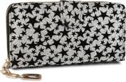 styleBREAKER glitter purse with velvet stars, all-round zipper, purse, ladies 02040080, colour:Silver