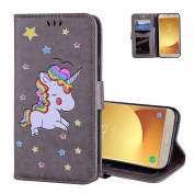 Galaxy J330 Wallet Cover Folio, Aeeque® Lovely Grey Cartoon Horse Pattern and Ultra Thin PU Leather Flip Stand Magnetic Closure Phone Case Protection for Samsung Galaxy J3 2017 13cm with Card Slots
