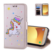 Galaxy J330 Wallet Case Gold, Aeeque® Flip Stand Feature Magnetic Clasp Premium PU Leather Protection with Credit Card Slots Cover and Cartoon Unicorn Pattern for Samsung Galaxy J3 2017 13cm