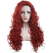 MZP Women Synthetic Wig Capless Long Curly Red Party Wig Celebrity Wig Halloween Wig Cosplay Wig Natural Wigs Costume Wig