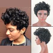 MZP Trendy Curly Haircut Short Hairstyles Capless Human Hair Wigs For Black Woman 2017