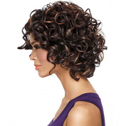 MZP Women Synthetic Wig Capless Short Curly Brown Highlighted/Balayage Hair African American Wig Natural Wig Costume Wigs