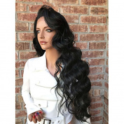 MZP Women Human Hair Lace Wig Brazilian Human Hair Full Lace 130% Density Layered Haircut With Baby Hair Wavy Wig Black Medium Brown Dark , 130%
