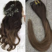 Full Shine 60cm 100 Gramme 7 Pcs Per Package Ombre Clip in Full Head Remy Human Hair Extension Ombre Colour #3 Dark Brown to Colour #6 Medium Brown Clip in Extension