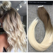Ugeat Med Brown to Blonde Two Tone Tape in Human Hair Extensions 46cm Real Brazilian Skin Weft Remy Tape Hair Extensions 50g/20pcs
