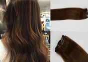 HUAYI Hair clip In Hair Extensions #6 Medium Light Brown 50cm respectively 70g Silky Straight 100% Real Remy Human Hair Extensions Balayage Hair Ultra Thick