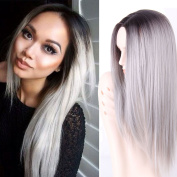 AISI HAIR Synthetic Long Straight Wigs Grey Ombre Wig Dark Roots Two Tone Grey Middle Part Wigs for Women Party Wigs