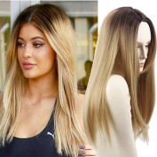 AISI HAIR Long Straight Hair Two Tone Black and Blonde Ombre Wig Heat Resistant Fibre Natural Blonde Wig Synthetic Wigs Is a Wig