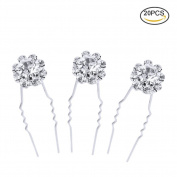 Pretty See Stylish U-shaped Hairpin Fashionable Crystal Bridal Hair Clip Pretty Shining Bobby Pin, Suitable for Hair Decoration, Silver