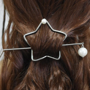 Hair Pin, . Silver Star Shaped Hairpin Clips Hair Accessories, Styling Ponytail Holder Bun Maker Tool