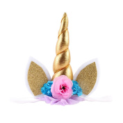 Unicorn Headband Gold Horn with Rabit Ears and Flower Cute Hair Accessory for Children by UmayBeauty