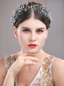 Handcess Wedding Hair Vine Headband Blue Baroque Bohemia Style Hair Band Boho Flower Bridal Hair Accessories for Bride and Bridesmaid