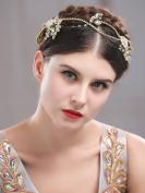 Handcess Wedding Flower Headband Leaves Hair Vine Rhinestones Bridal Hair Jewellery for Bride and Bridesmaid