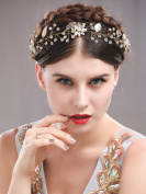 Handcess Leaf Headband Hair Vine Wedding Bridal Rhinestones Flower Gold Headpieces for Bride and Bridesmaid