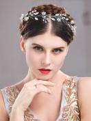 Handcess Wedding Headband Hair Vine Opal Rhinestones Flower Hair Accessories for Bride and Bridesmaid