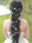 Handmadejewelrylady Wedding Bridal Crystal Rhinestones Headband Hair Vine Headpiece Women Evening Party Hair Accessories 100cm