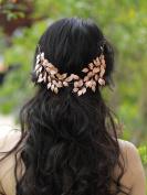 Handmadejewelrylady Wedding Bridal Rose Gold Crystal Rhinestones Headband Hair Vine Headpiece Women Evening Party Hair Accessories