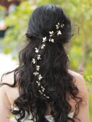 Handmadejewelrylady Bridal Leaves Hair Vine Crystal Wedding Rhinestones Headband Hair Vine Headpiece Women Evening Party Hair Accessories