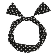 UTOVME Fashion Polka Dots Bowknot Headbands Vintage Style Wired Wrap Elastic Hair Clasp