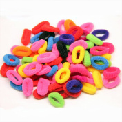Fostly Elastic Hair Bands Cotton Stretch Hair Tie Bands Rope Accessories Headband Ponytail Holders For Children 50Pcs Colourful