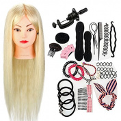 Neverland Beauty 60cm 50% Real Human Hair Hairdressing Training Head Manikin Doll with Clamp Stand Practise Mannequin + DIY Hair Braid Tool