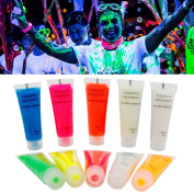 Body Paint, Kapmore 10Pcs Neon Fluorescent Black Light Face Painting UV Paint for Party
