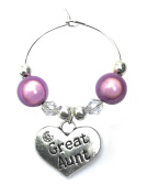 Great Aunt Wine Glass Charm with Gift Card Handmade by Libby's Market Place - From UK Seller