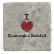 I Love Champagne Cocktail - Marble Tile Drink Coaster