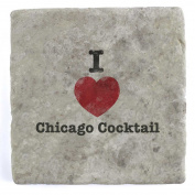 I Love Chicago Cocktail - Marble Tile Drink Coaster