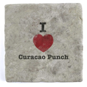 I Love Curacao Punch - Marble Tile Drink Coaster