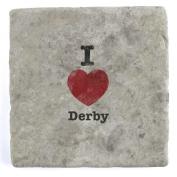 I Love Derby - Marble Tile Drink Coaster