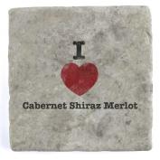 I Love Cabernet Shiraz Merlot - Marble Tile Drink Coaster