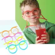 Decdeal Creative Fun Eyeglasses Straw Crazy Design DIY Transparent Cartoon Plastic Gift for Kids