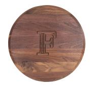 """BigWood Boards W110-LAZYSUSAN-F Thick Round Lazy Susan Cutting Board, 41cm by 2.5cm , Monogrammed """"F"""", Walnut"""