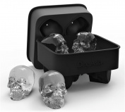 3D Skull Flexible Silicone Ice Cube Mould Tray, Makes Four Giant Iced Skulls Easy Release Realistic Skull Ice Cube Maker BPA Free Black