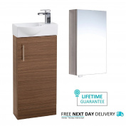 Walnut Wood 400mm Slimline Bathroom Cloakroom Vanity Unit With Single Door Mirror Cabinet And Waterfall Tap