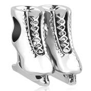 Sug Jasmin Ice Skates Charm Beads Fit European Charm Bracelets