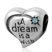 Everbling A Dream is a Wish March Birthstone 925 Sterling Silver Bead Fits Pandora Charm Bracelet