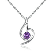 Purmy Women Necklace White Gold Plated Pendant Angel Wings with Cubic Zirconia Purple 45x1.4x2.5CM
