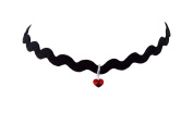 Ladies Elegant Vintage Swirly Wave Choker Necklace with Crystal Heart Pendant Many Colours