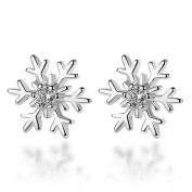 Celebrity Jewellery S925 Sterling Silver Snowflake Frozen Edelweiss Stud Earrings for Women Gift