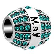 Sug Jasmin Jan-Dec Simulated Birthstone Charm 12 Colours Beads For Bracelets